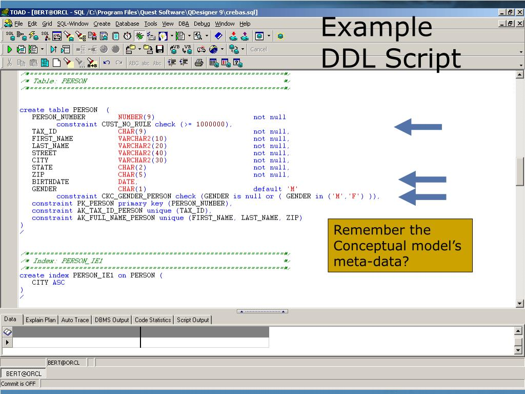 Example DDL Script