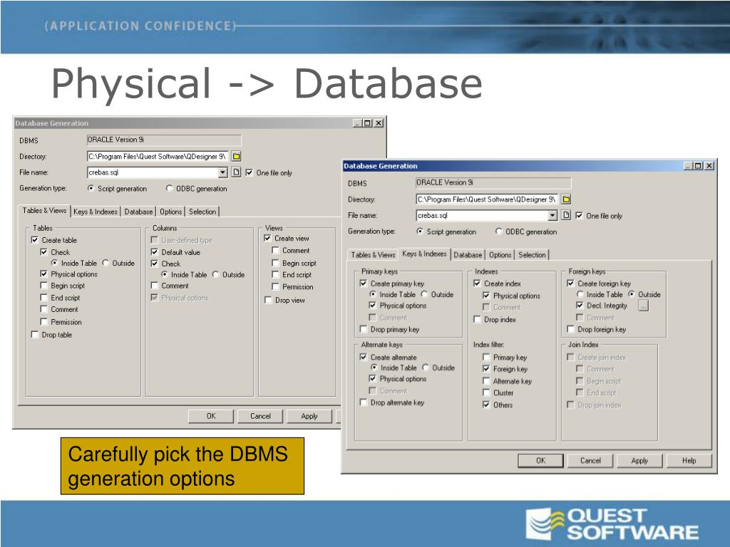 Physical -> Database