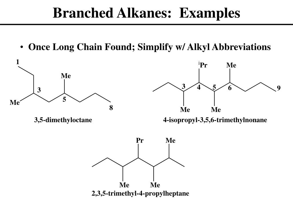 Branched Alkanes:  Examples