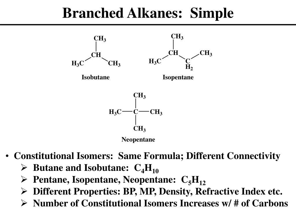 Branched Alkanes:  Simple