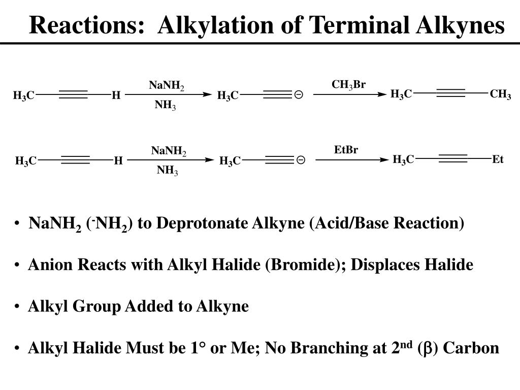 Reactions:  Alkylation of Terminal Alkynes