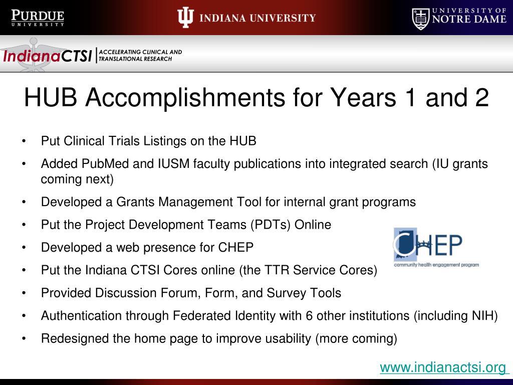 HUB Accomplishments for Years 1 and 2