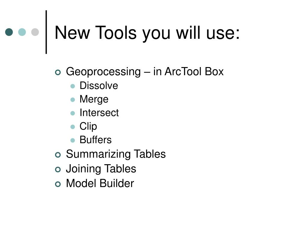 New Tools you will use: