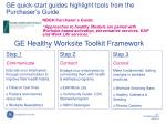 ge quick start guides highlight tools from the purchaser s guide