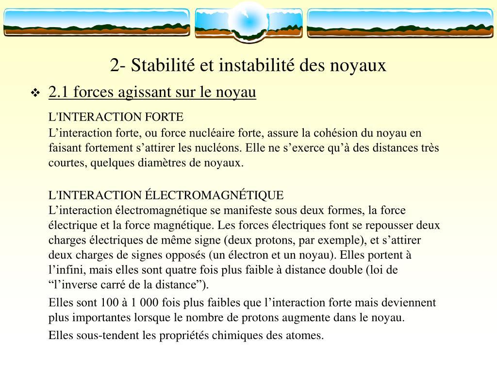 2- Stabilité et instabilité des noyaux