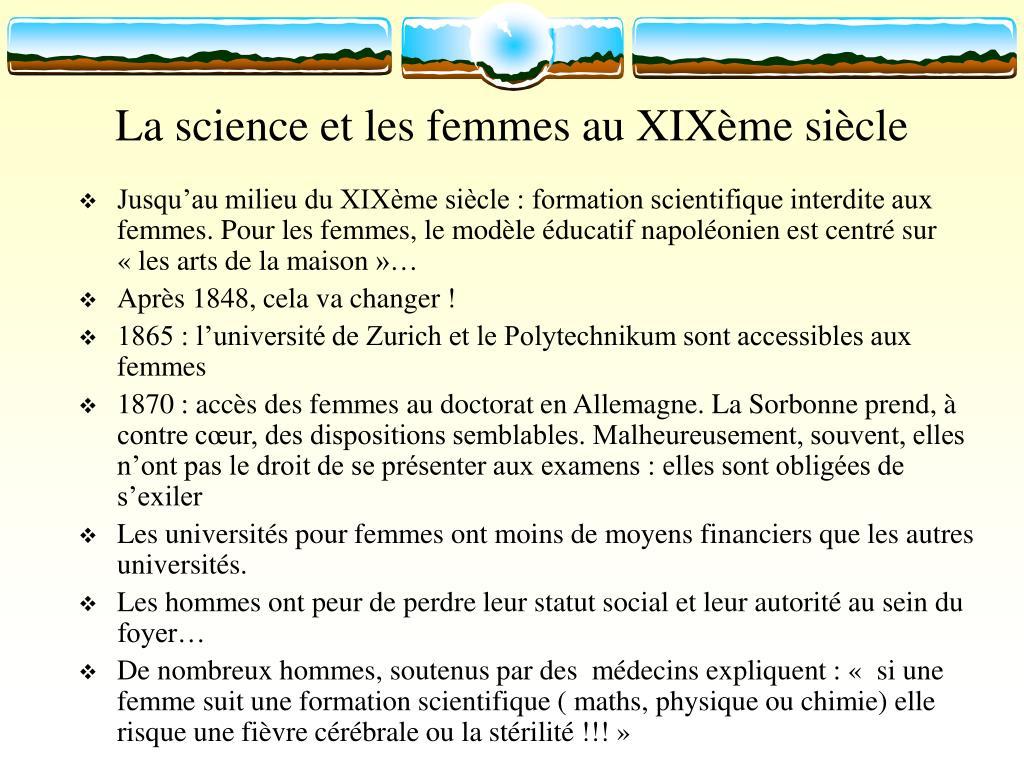 La science et les femmes au XIXème siècle