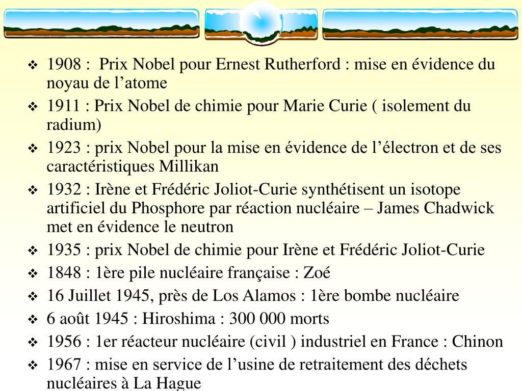 1908 :  Prix Nobel pour Ernest Rutherford : mise en évidence du noyau de l'atome