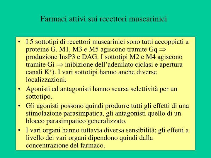 Farmaci attivi sui recettori muscarinici