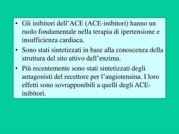 Gli inibitori dell'ACE (ACE-inibitori) hanno un ruolo fondamentale nella terapia di ipertensione e insufficienza cardiaca.