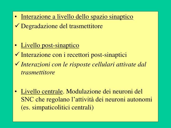 Interazione a livello dello spazio sinaptico