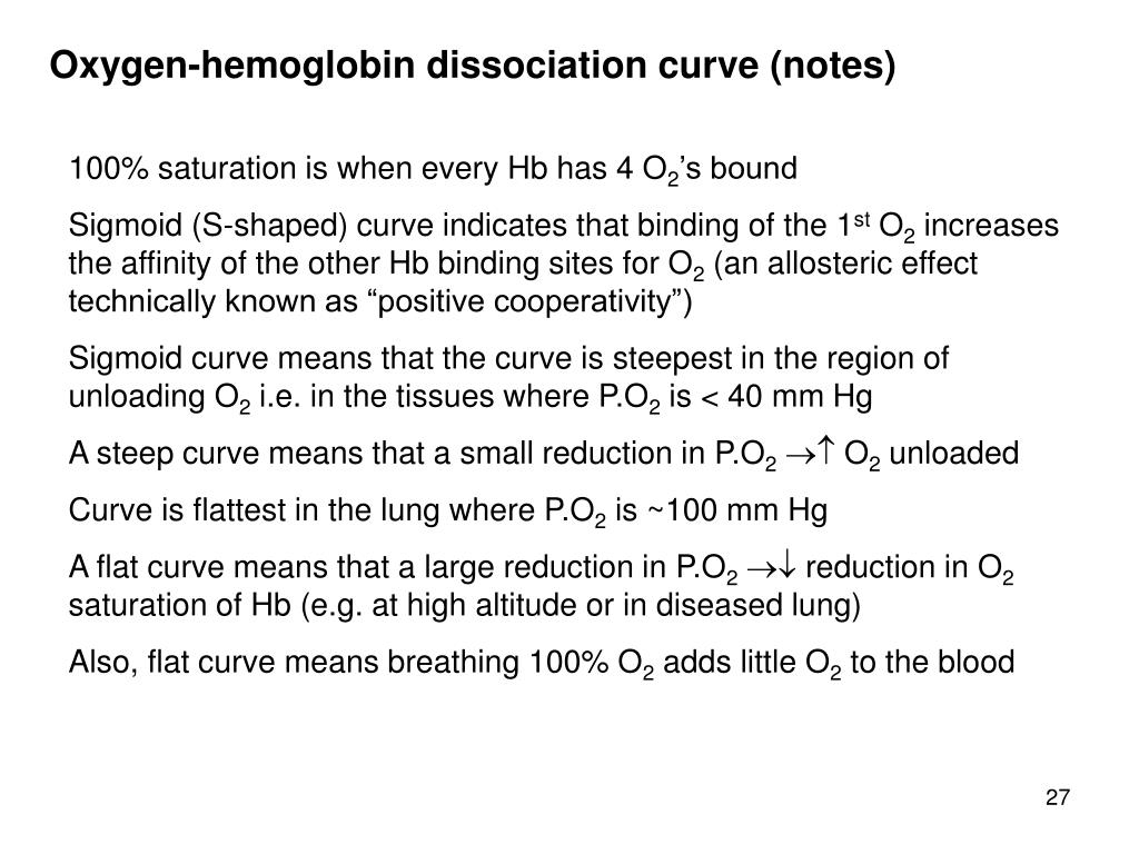 Oxygen-hemoglobin dissociation curve (notes)