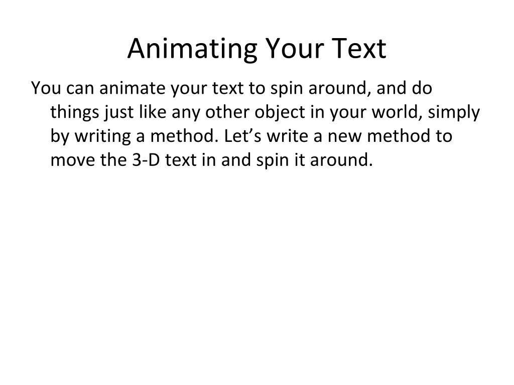 Animating Your Text