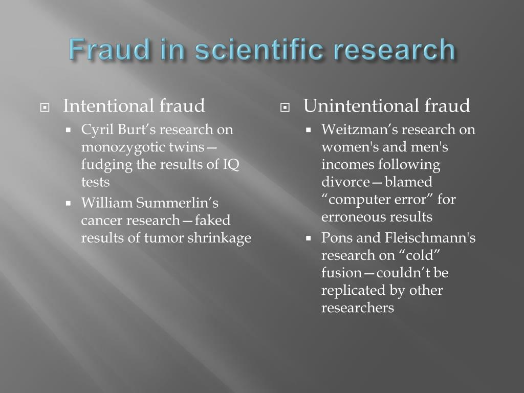 Fraud in scientific research