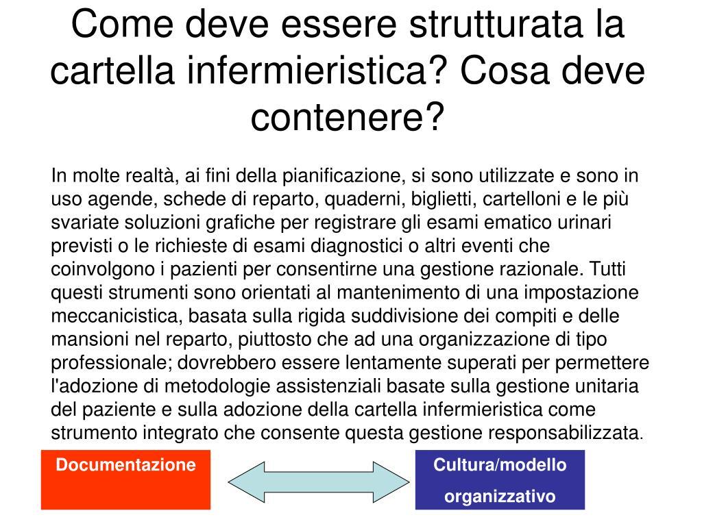 Come deve essere strutturata la cartella infermieristica? Cosa deve contenere?