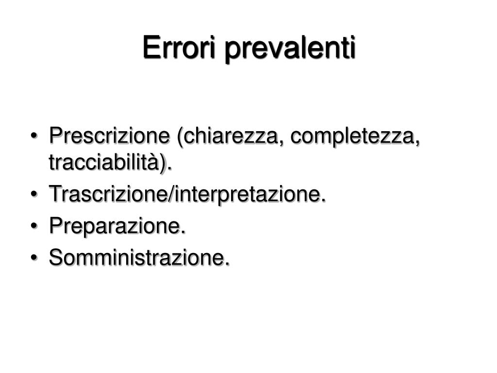 Errori prevalenti