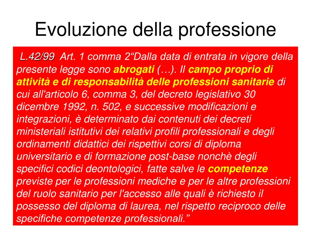 Evoluzione della professione