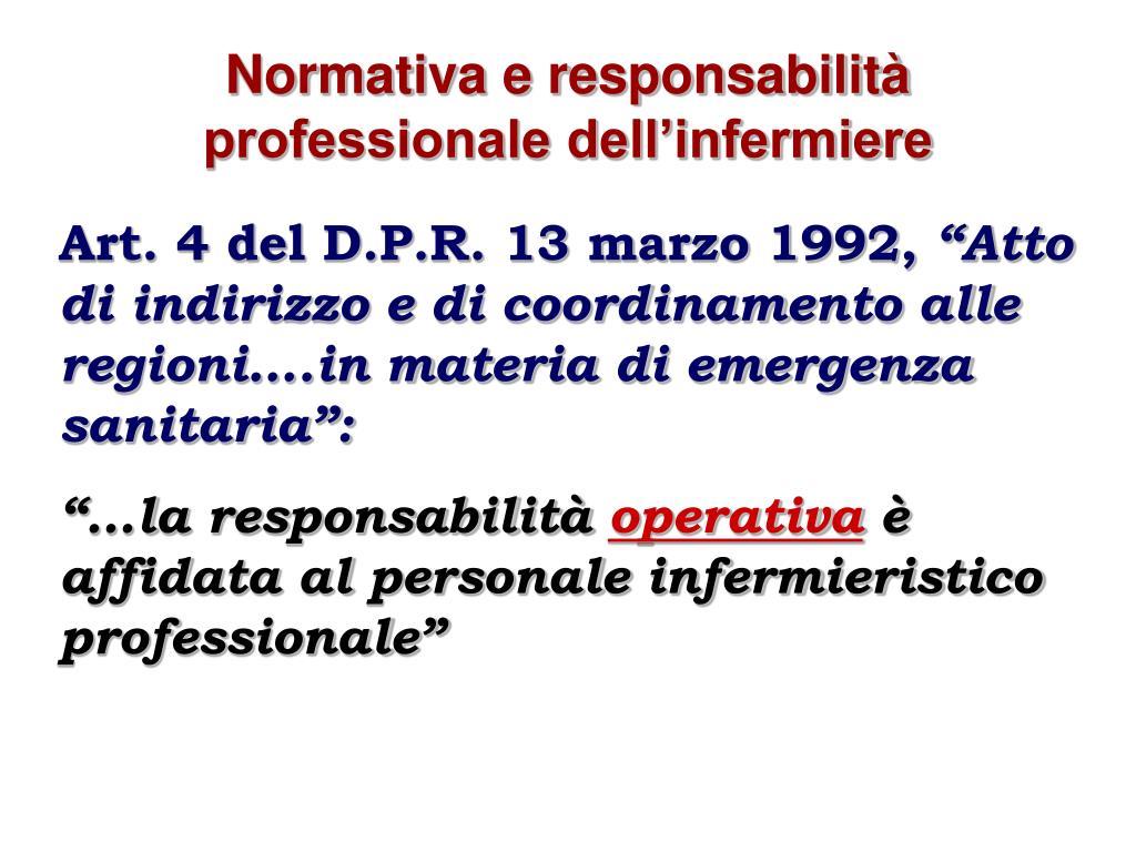 Normativa e responsabilità professionale dell'infermiere