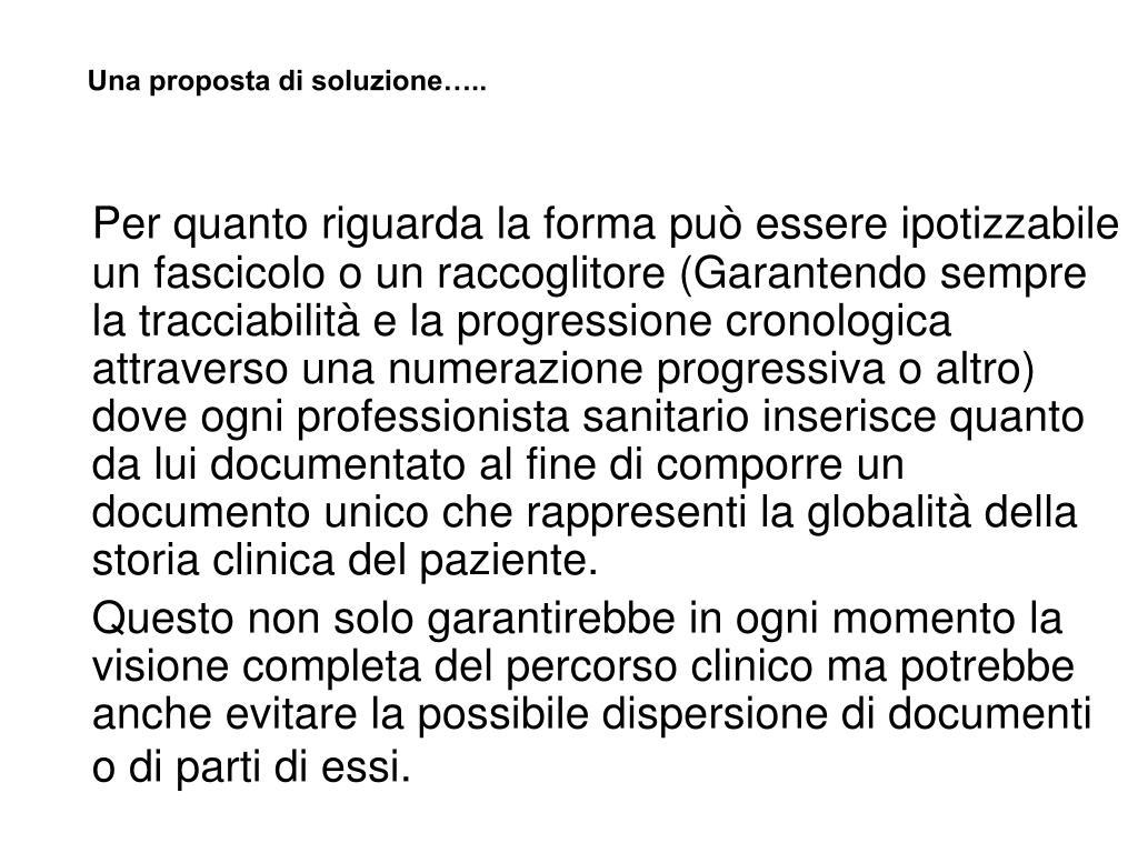 Una proposta di soluzione…..