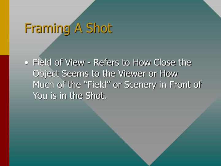 Framing A Shot