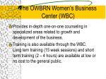 the owbrn women s business center wbc