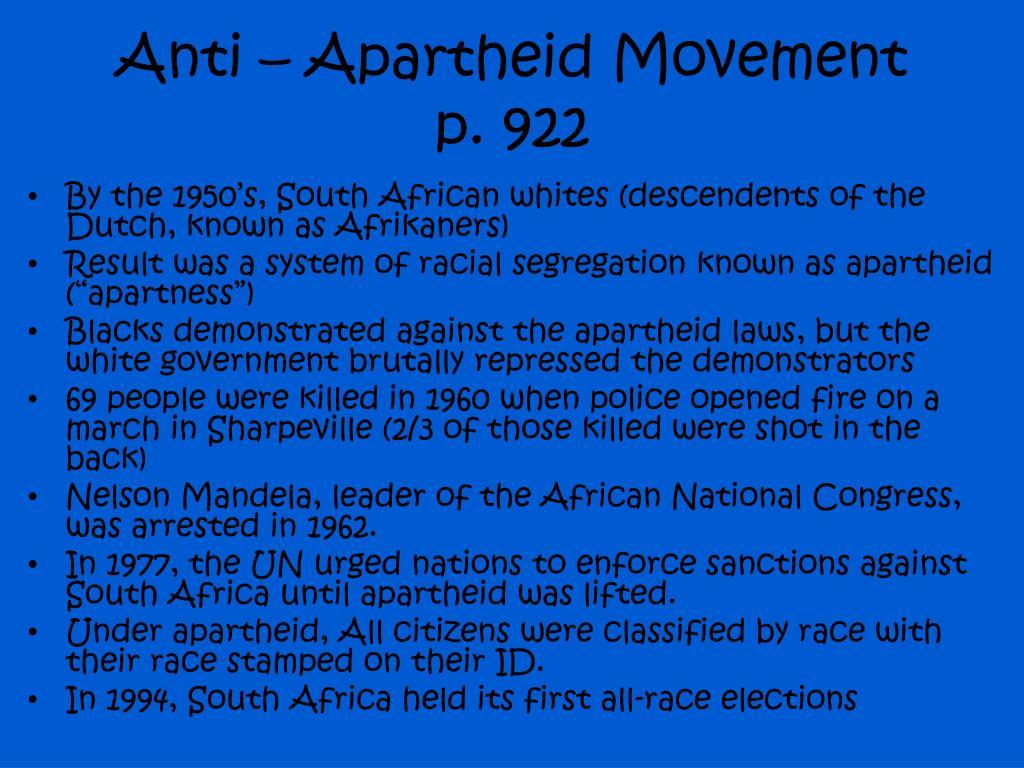 Anti – Apartheid Movement