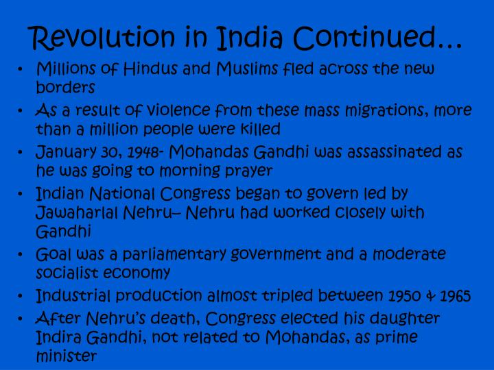 Revolution in india continued