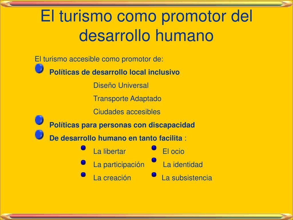 El turismo como promotor del desarrollo humano