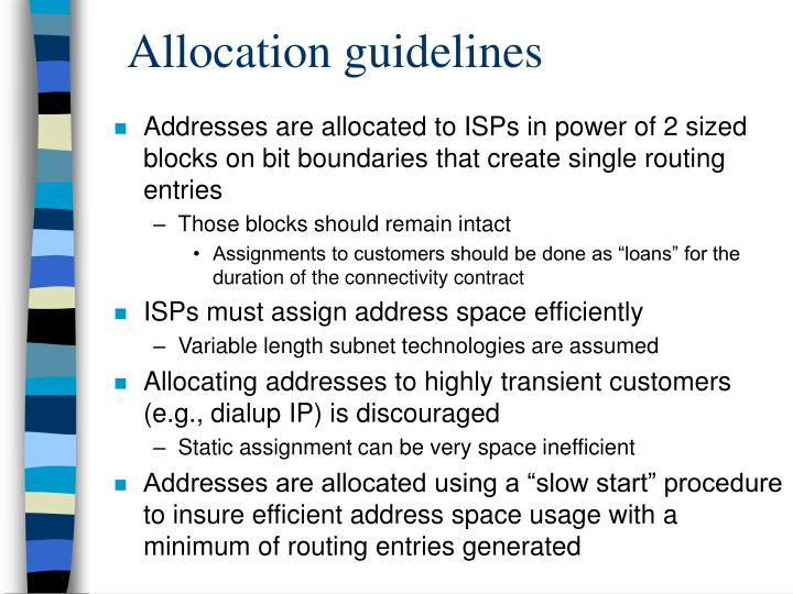 Allocation guidelines