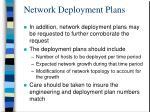 network deployment plans