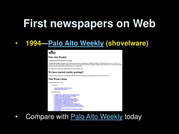 First newspapers on Web