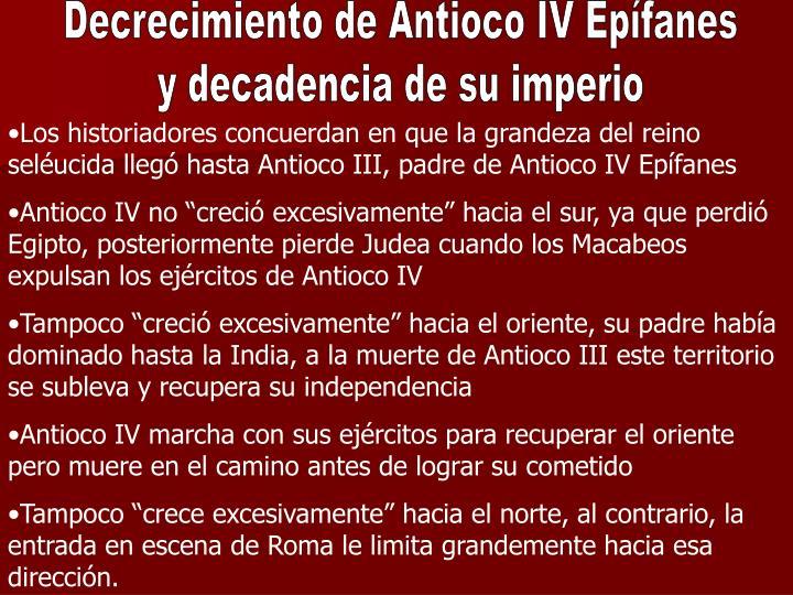 Decrecimiento de Antioco IV Epífanes