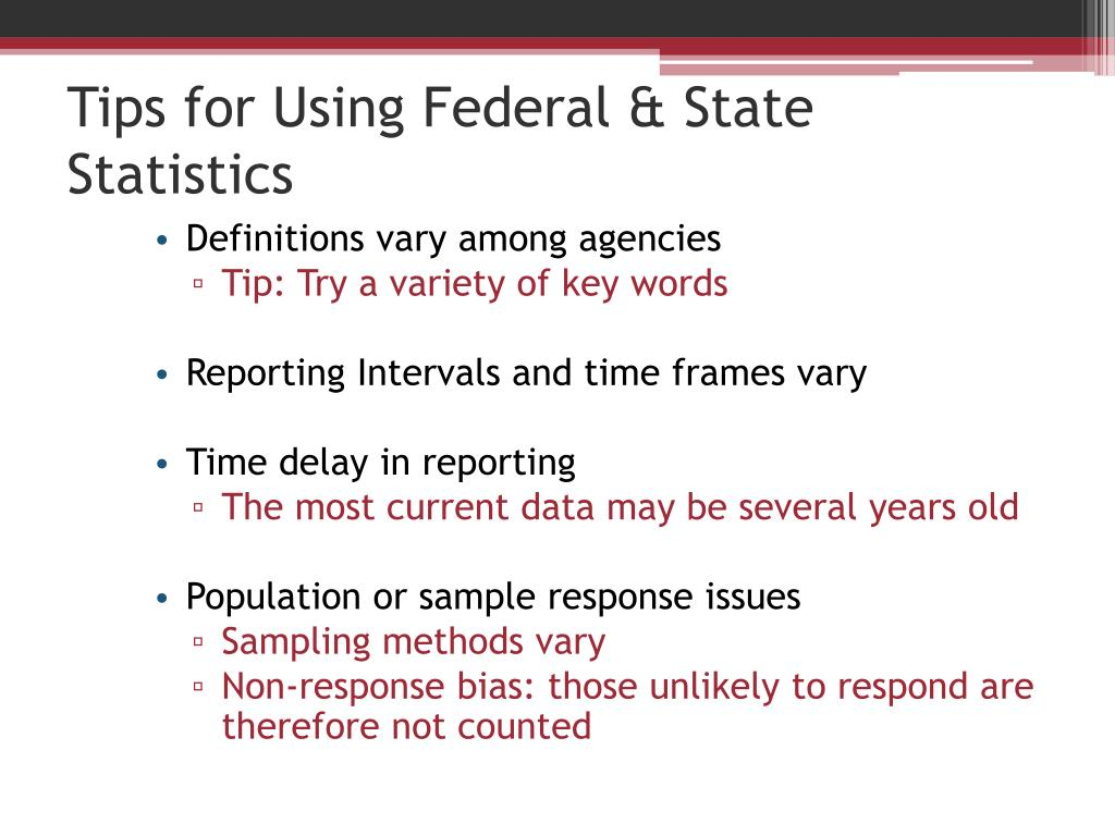 Tips for Using Federal & State Statistics