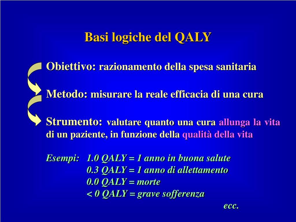 Basi logiche del QALY