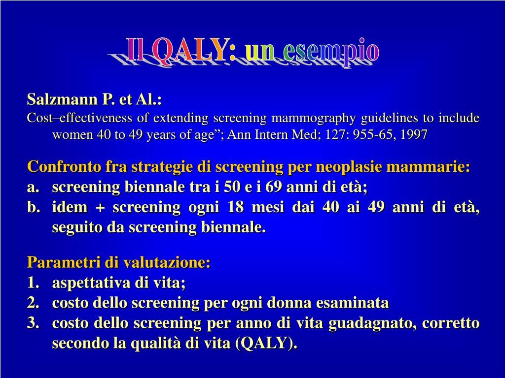 Il QALY: un esempio