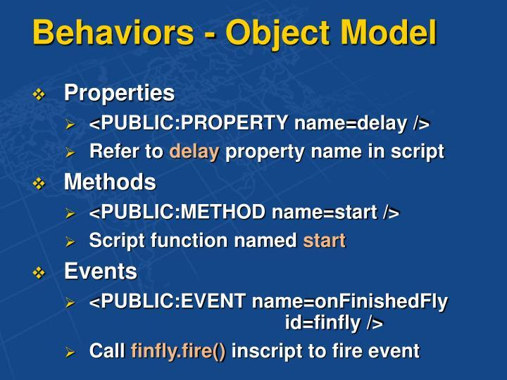 Behaviors - Object Model