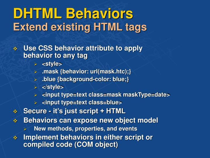 DHTML Behaviors