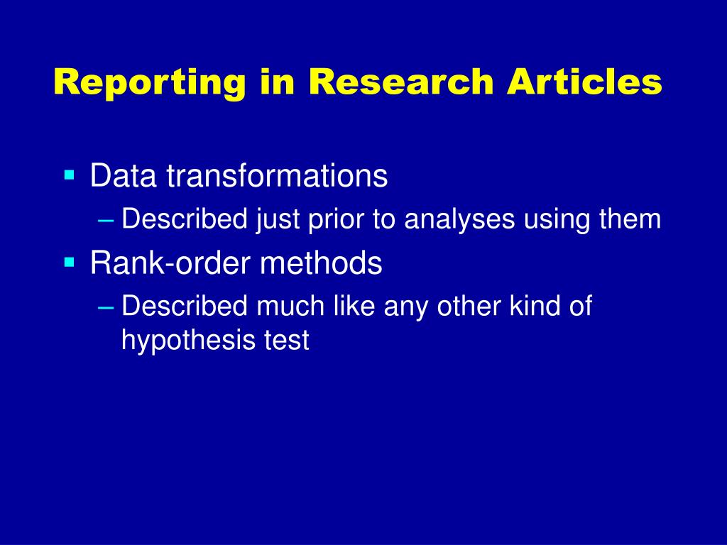 Reporting in Research Articles