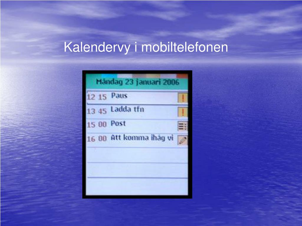 Kalendervy i mobiltelefonen