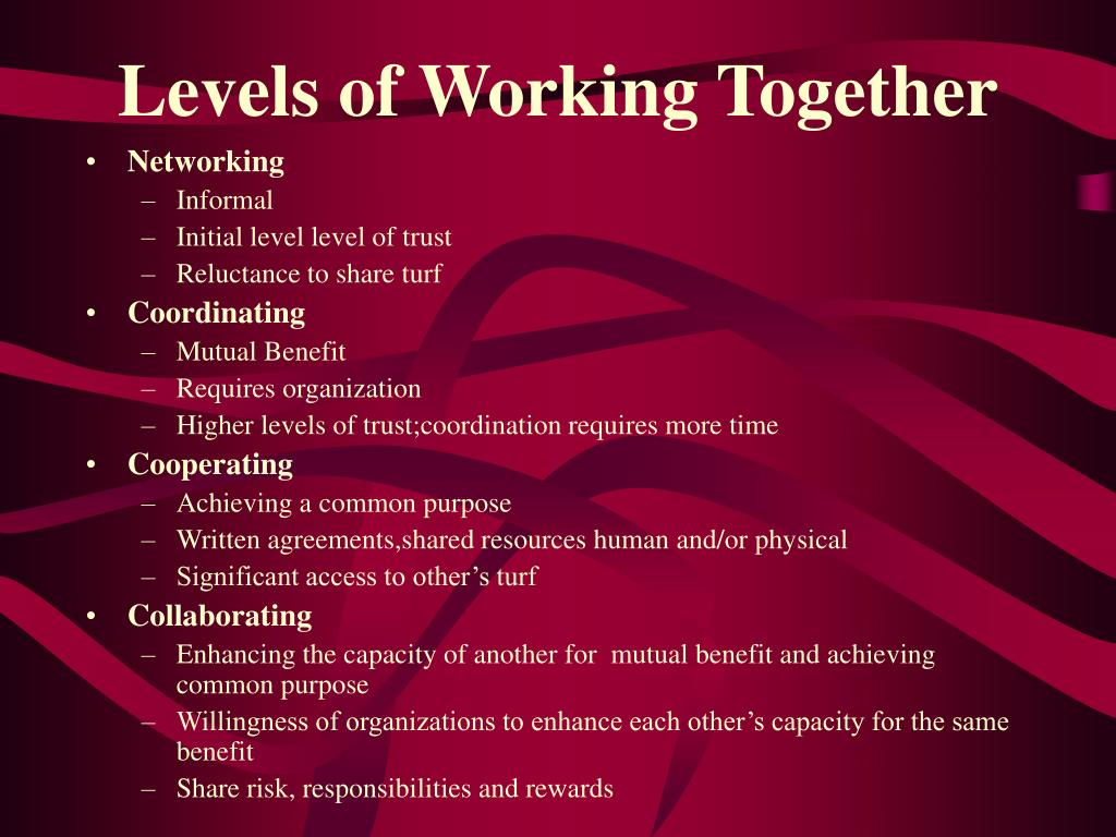 Levels of Working Together