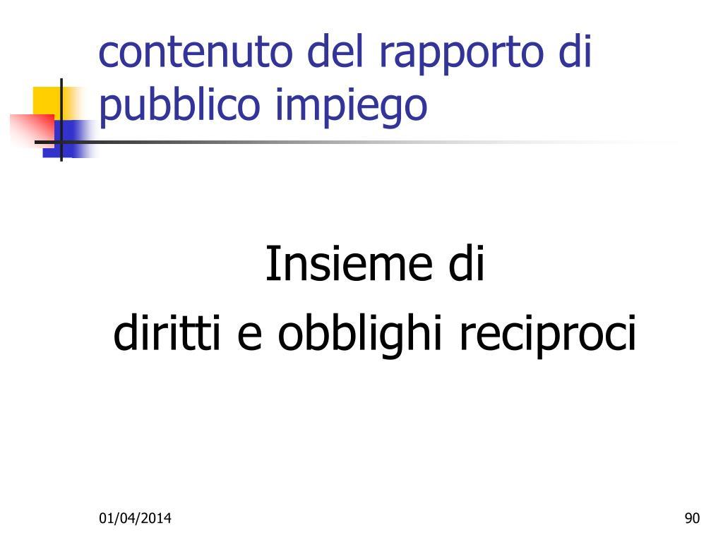 contenuto del rapporto di pubblico impiego