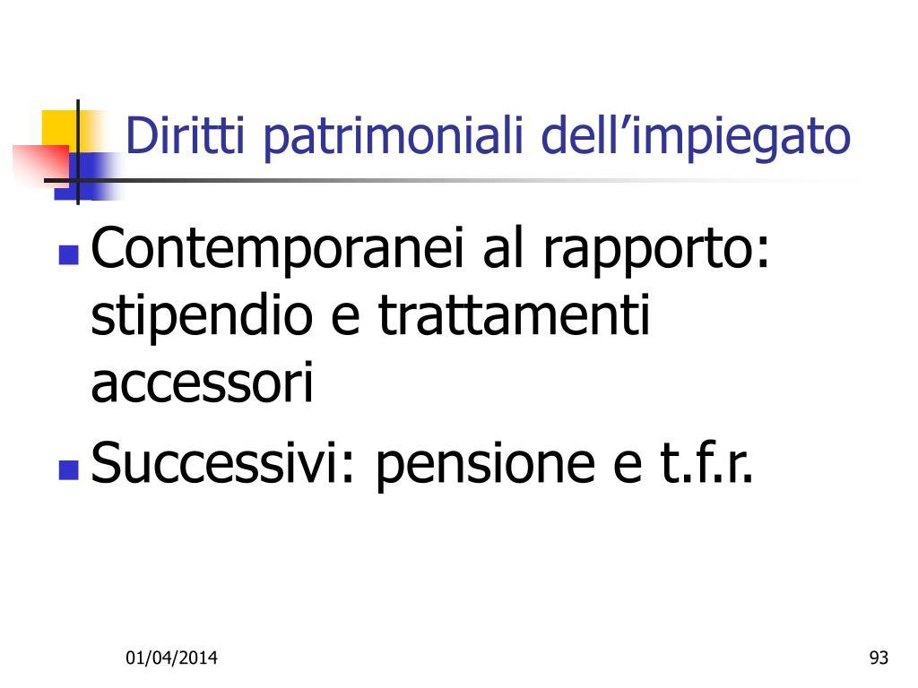 Diritti patrimoniali dell'impiegato