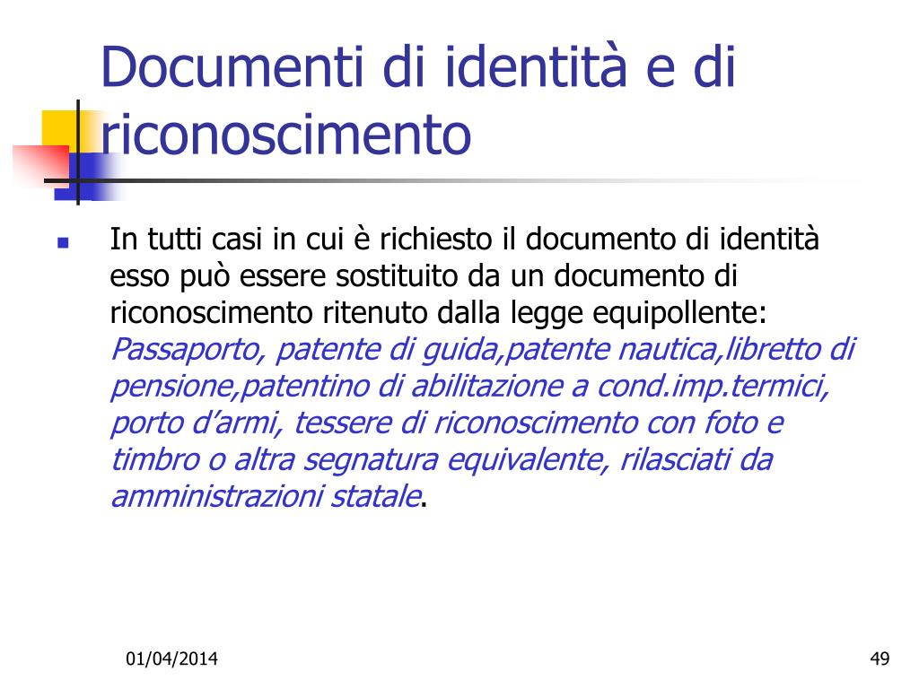 Documenti di identità e di riconoscimento