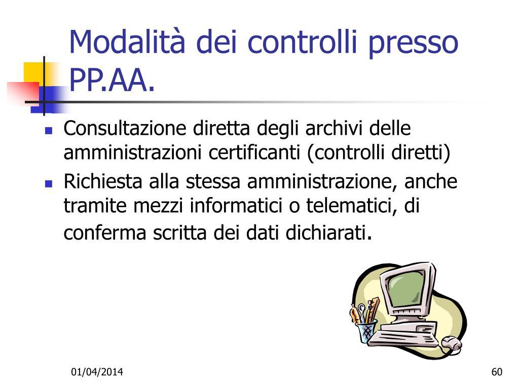 Modalità dei controlli presso PP.AA.