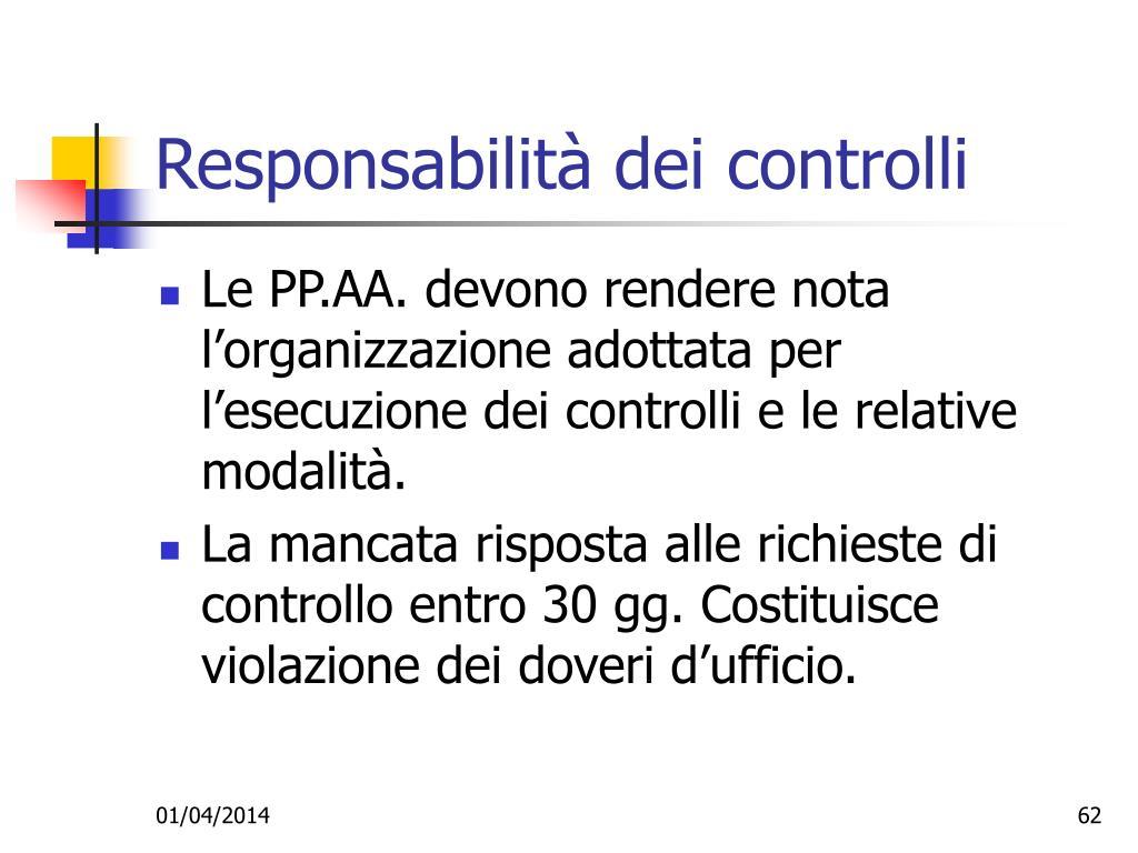 Responsabilità dei controlli