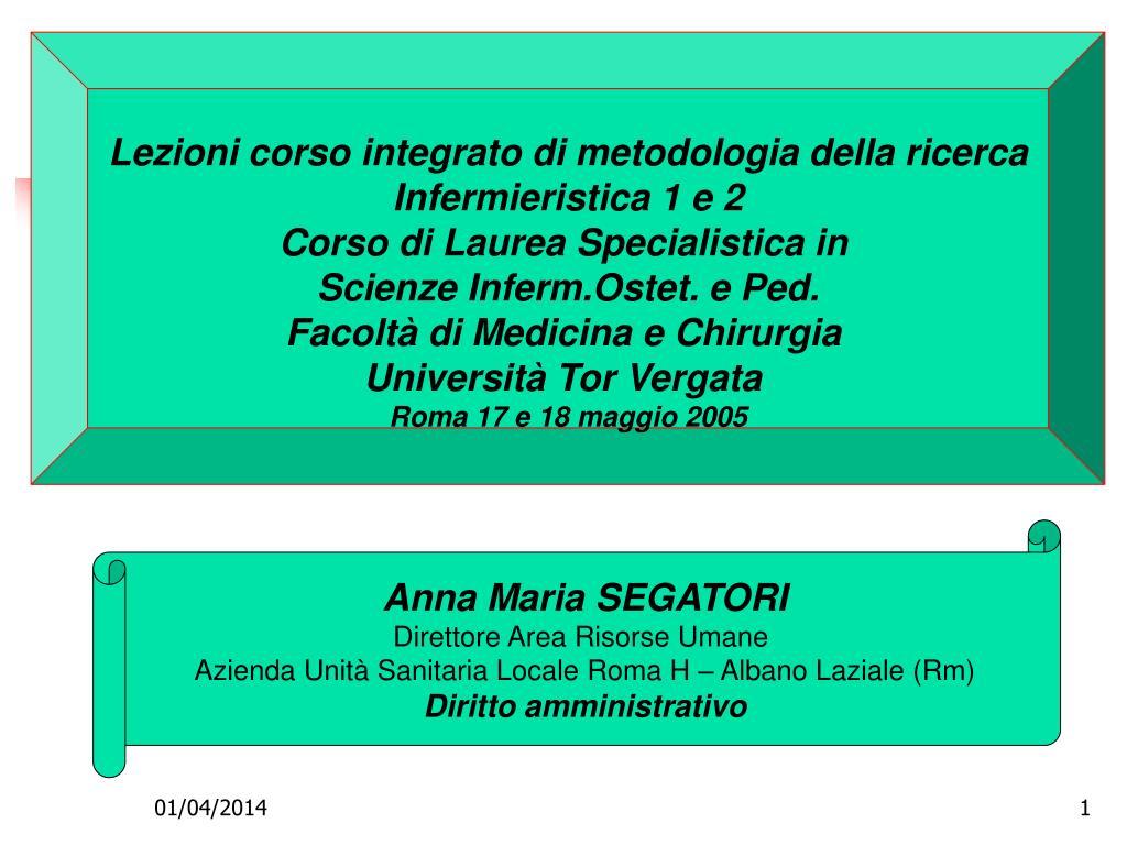 Lezioni corso integrato di metodologia della ricerca