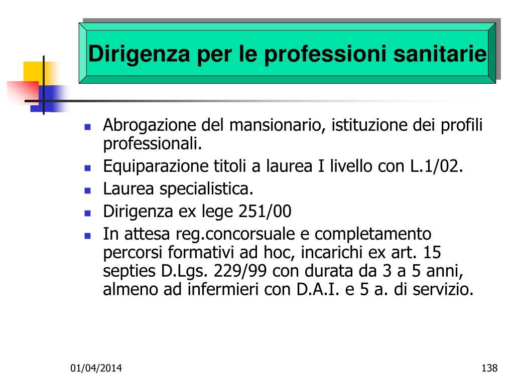 Dirigenza per le professioni sanitarie