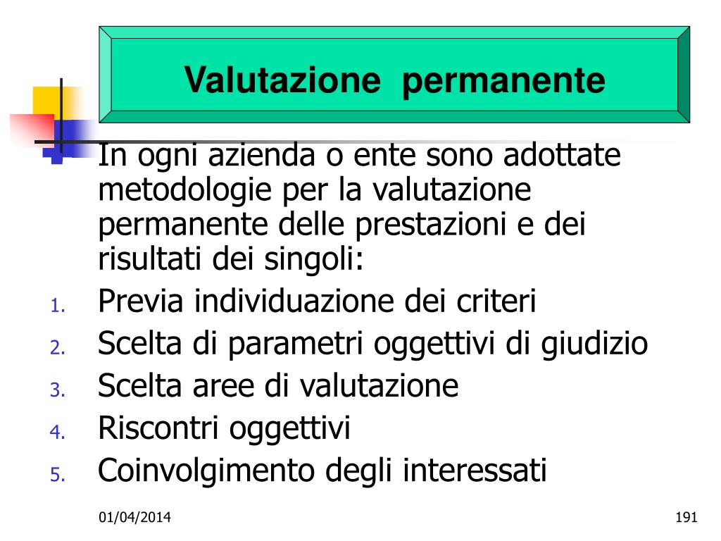 Valutazione  permanente