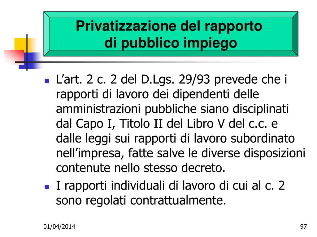 Privatizzazione del rapporto