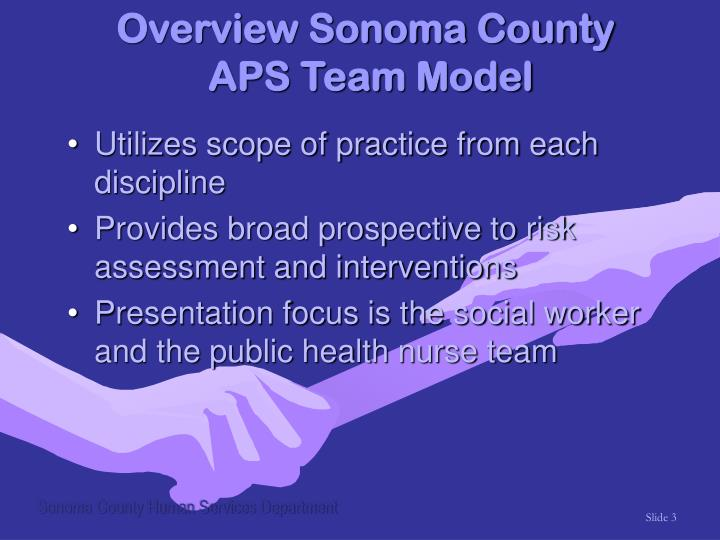 Overview sonoma county aps team model3