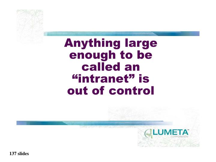 """Anything large enough to be called an """"intranet"""" is"""